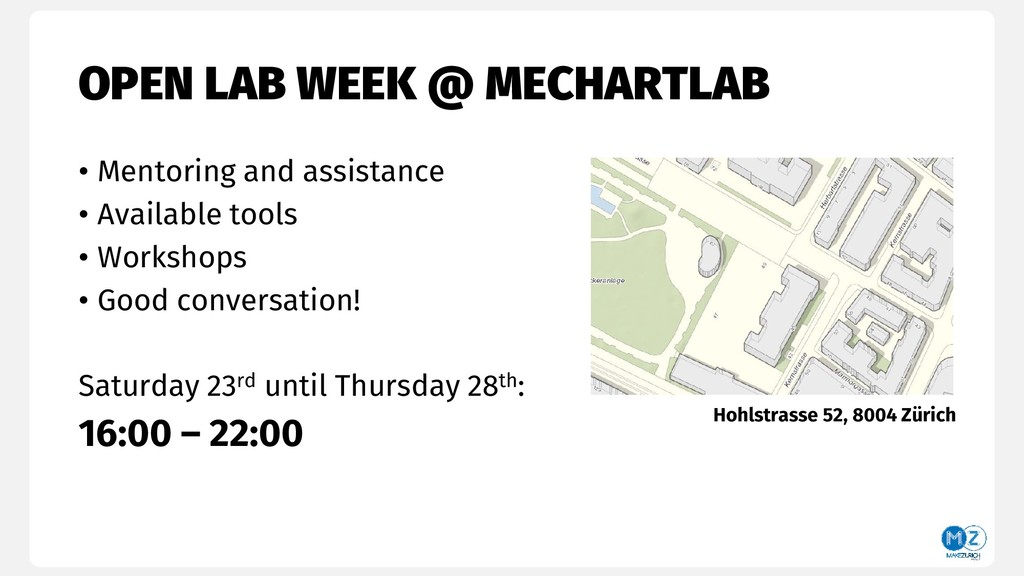 OPEN LAB WEEK @ MECHARTLAB • Mentoring and assi...