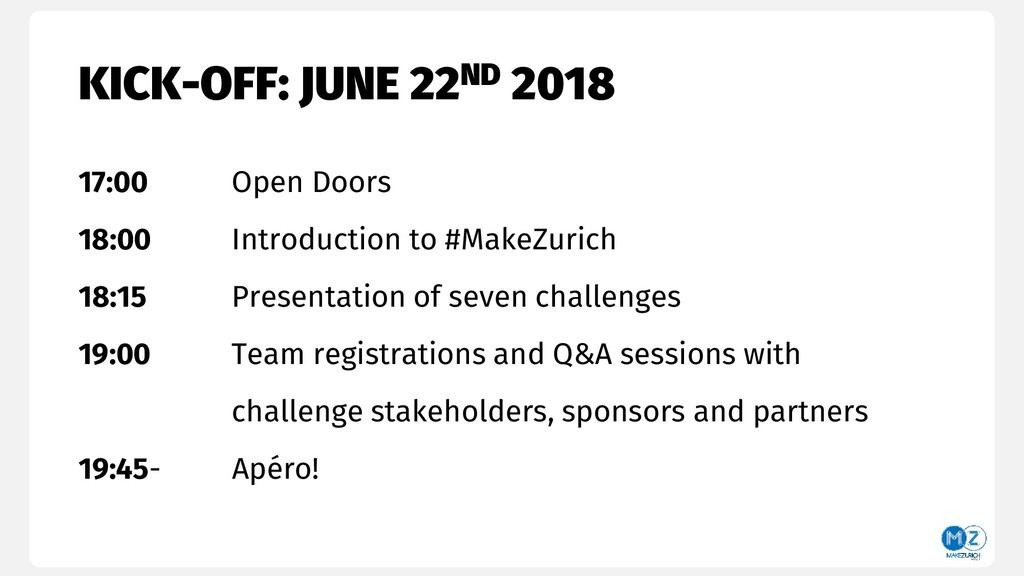KICK-OFF: JUNE 22ND 2018 17:00 Open Doors 18:00...