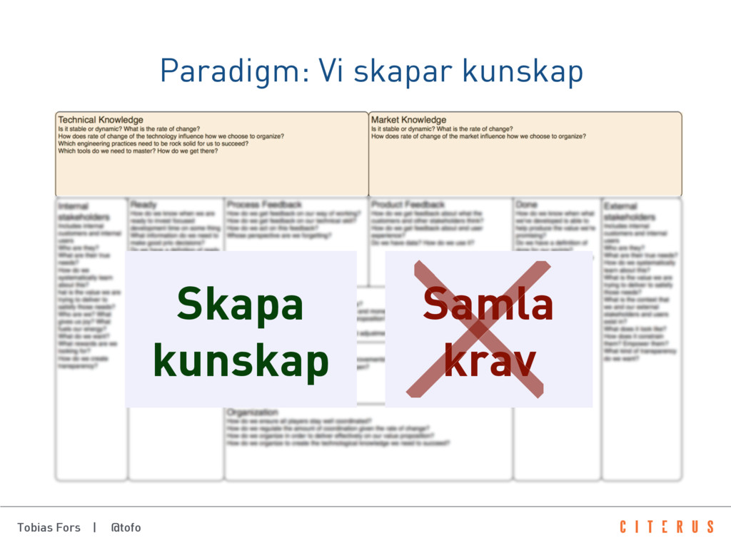 Tobias Fors | @tofo Paradigm: Vi skapar kunskap...