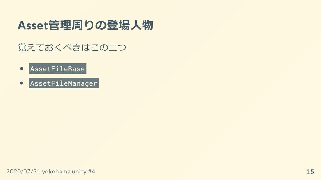 Asset管理周りの登場⼈物 覚えておくべきはこの⼆つ AssetFileBase Asset...