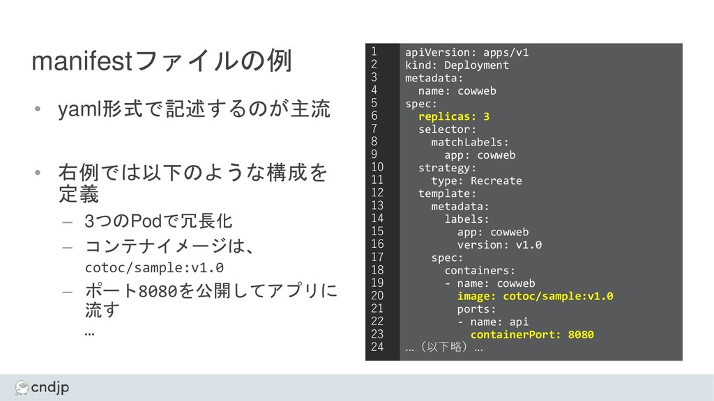 manifestファイルの例 • yaml形式で記述するのが主流 • 右例では以下のような構成...