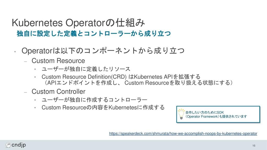 Kubernetes Operatorの仕組み • Operatorは以下のコンポーネントから...
