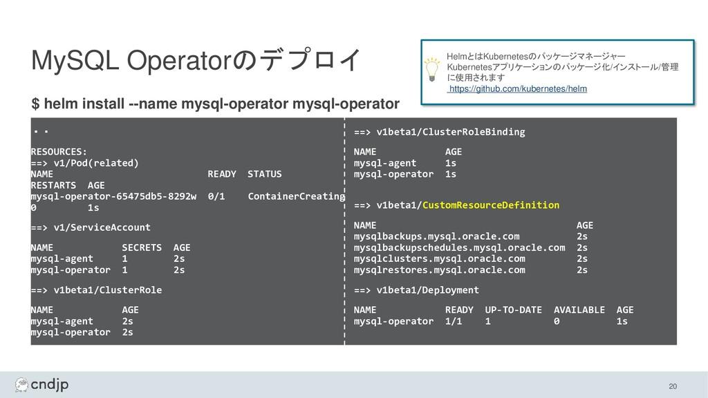 MySQL Operatorのデプロイ ・・ RESOURCES: ==> v1/Pod(re...