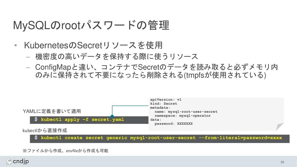 MySQLのrootパスワードの管理 • KubernetesのSecretリソースを使用 –...