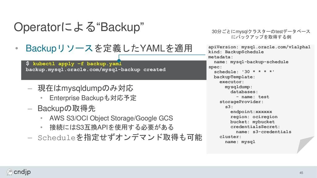 "Operatorによる""Backup"" 45 • Backupリソースを定義したYAMLを適用..."