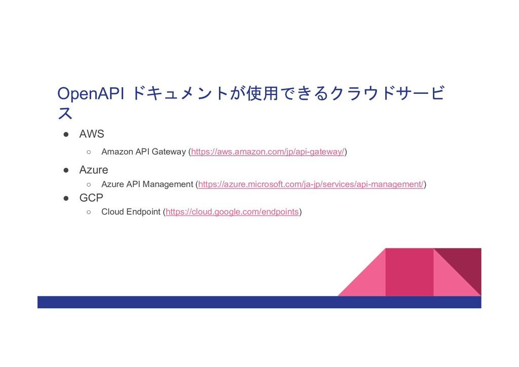 OpenAPI ドキュメントが使用できるクラウドサービ ス ● AWS ○ Amazon AP...