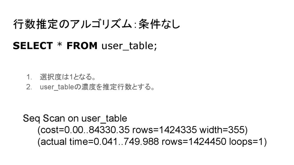 行数推定のアルゴリズム:条件なし SELECT * FROM user_table; Seq ...