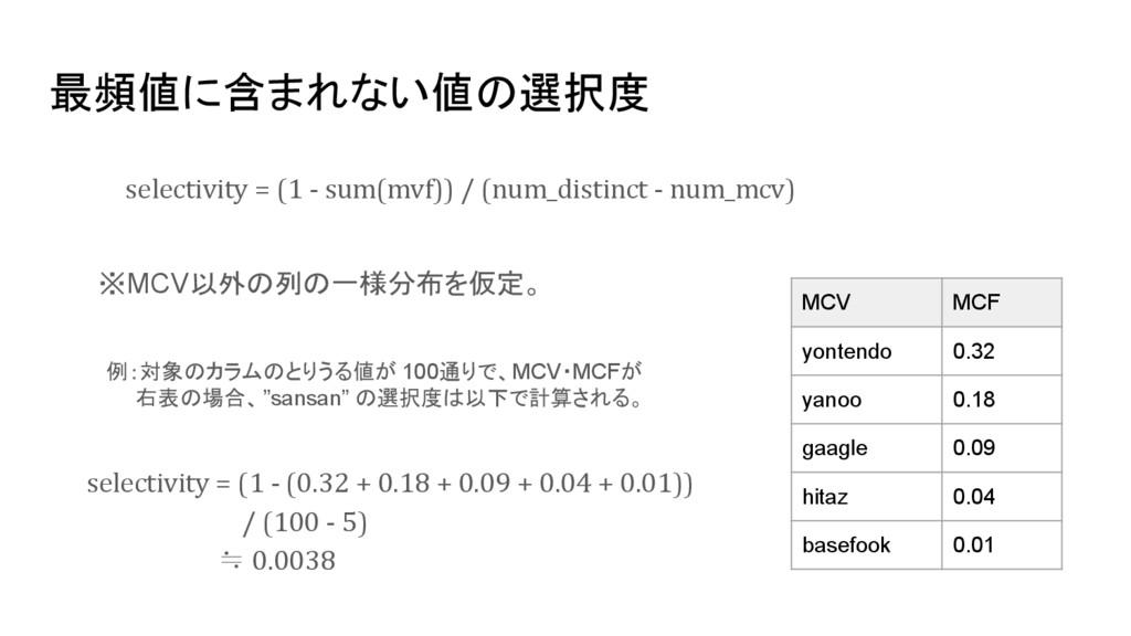 最頻値に含まれない値の選択度 selectivity = (1 - sum(mvf)) / (...