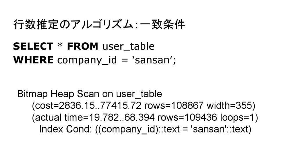 行数推定のアルゴリズム:一致条件 SELECT * FROM user_table WHERE...