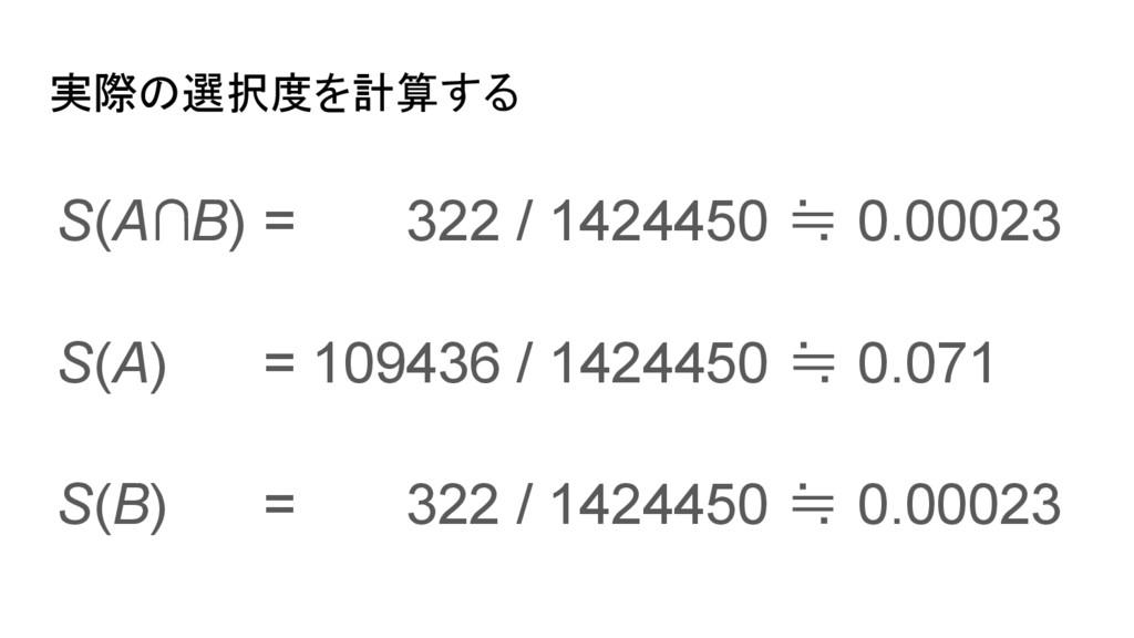 実際の選択度を計算する S(A∩B) = 322 / 1424450 ≒ 0.00023 S(...