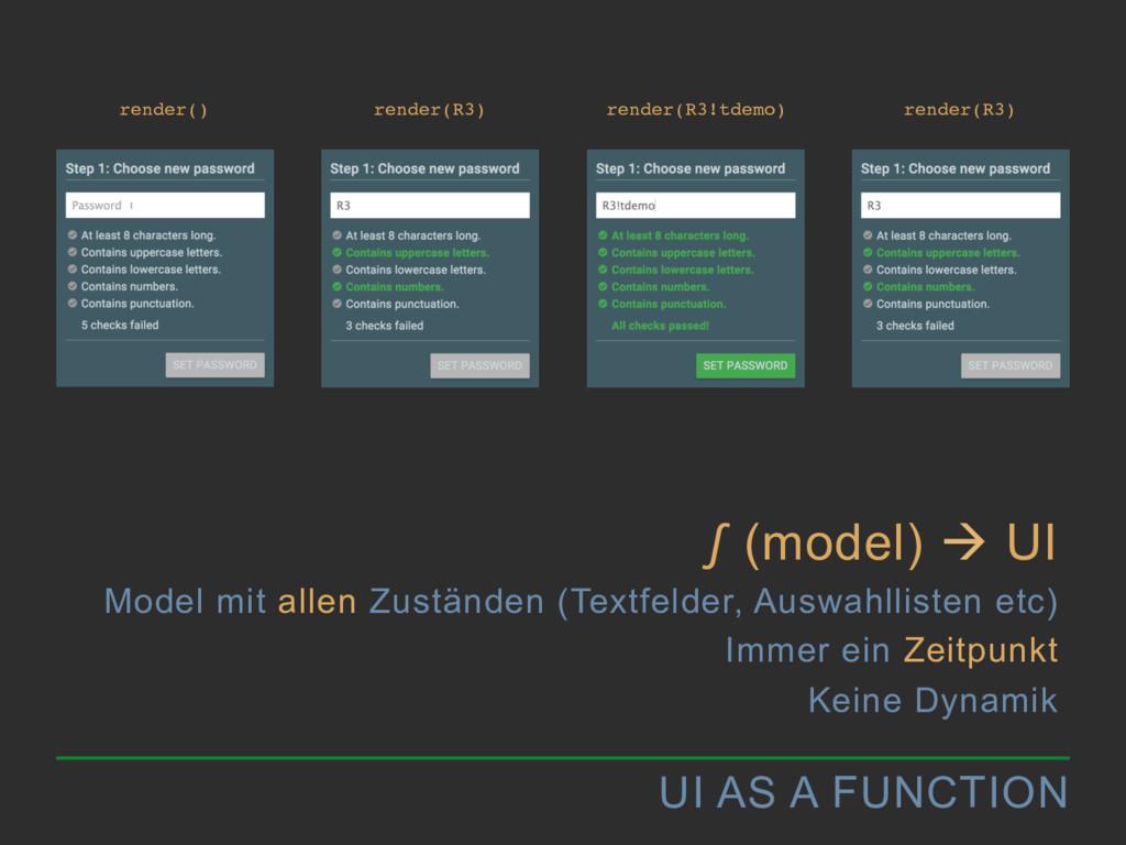 UI AS A FUNCTION ∫ (model) à UI Model mit alle...