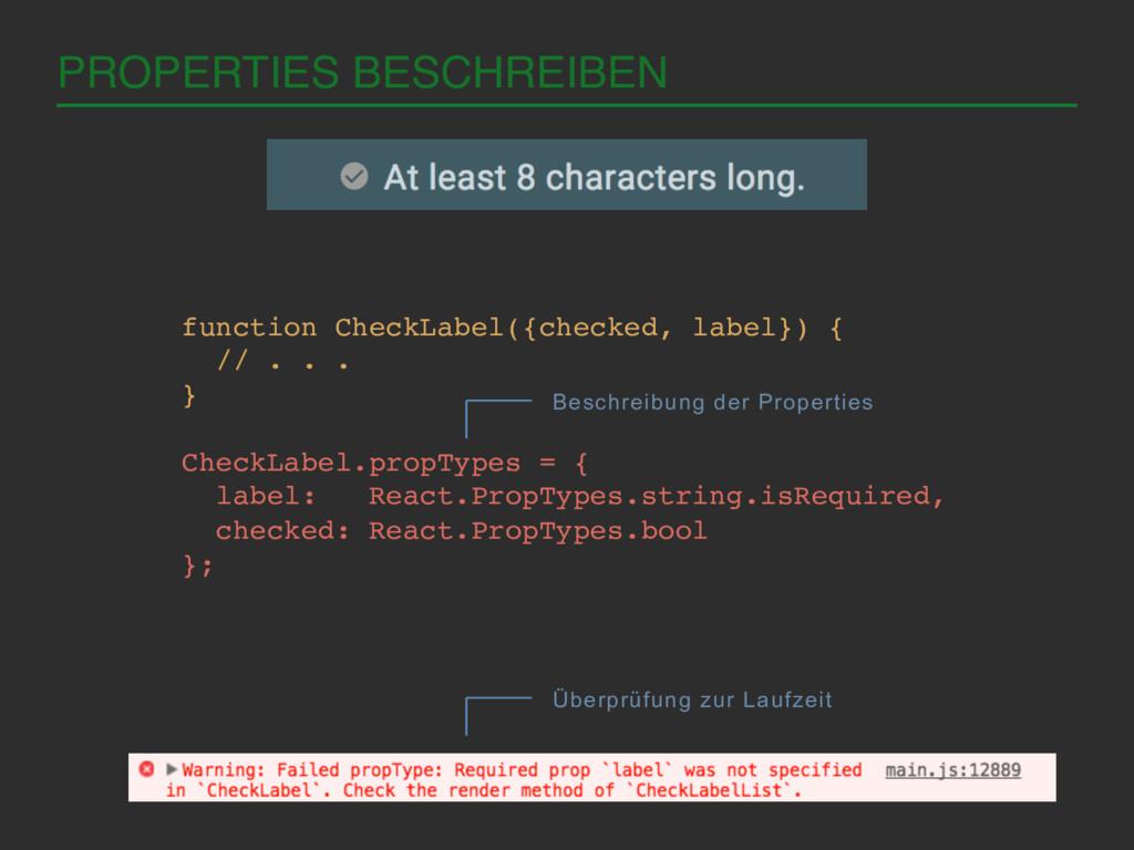 PROPERTIES BESCHREIBEN! function CheckLabel({ch...