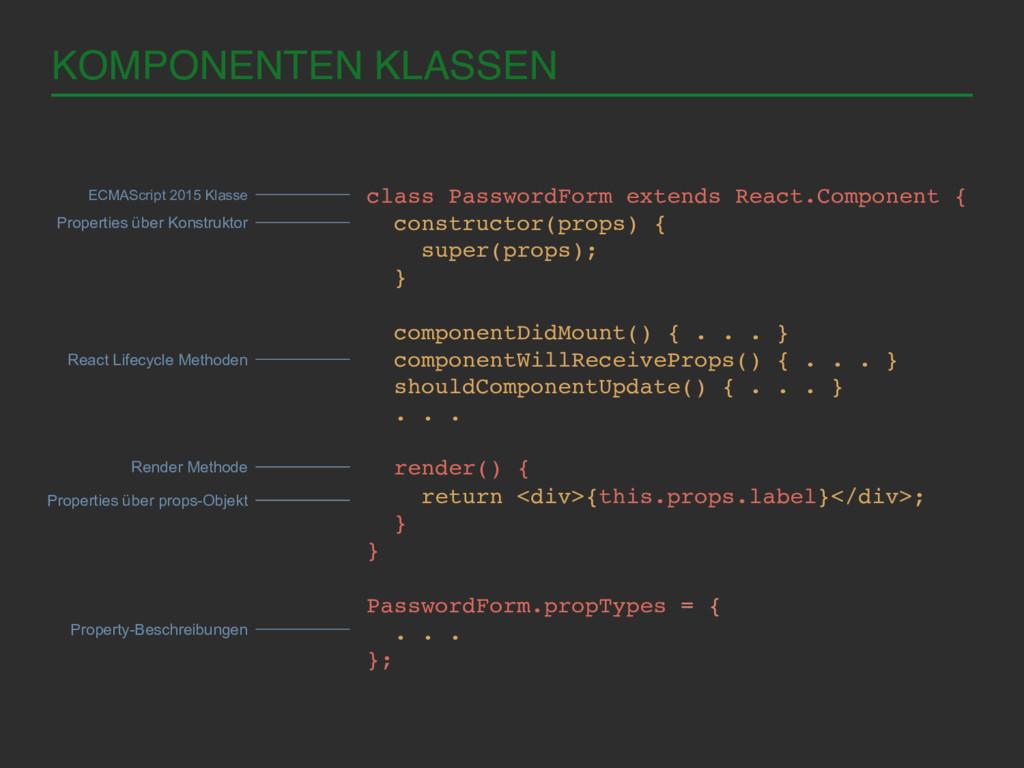 KOMPONENTEN KLASSEN! class PasswordForm extends...