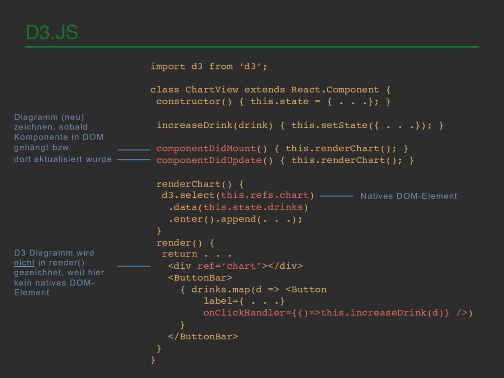 D3.JS! import d3 from 'd3';! ! class ChartView ...