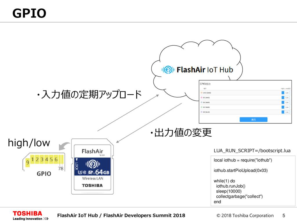 © 2018 Toshiba Corporation 5 GPIO FlashAir IoT ...