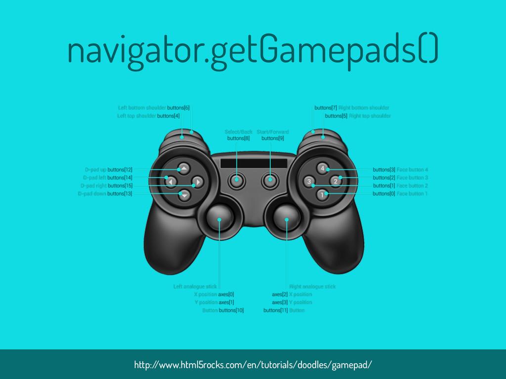 navigator.getGamepads() http:/ /www.html5rocks....