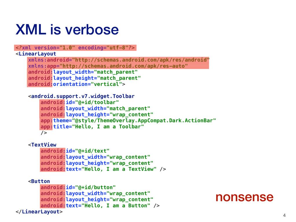 """XML is verbose 4 <?xml version=""""1.0"""" encoding=""""..."""