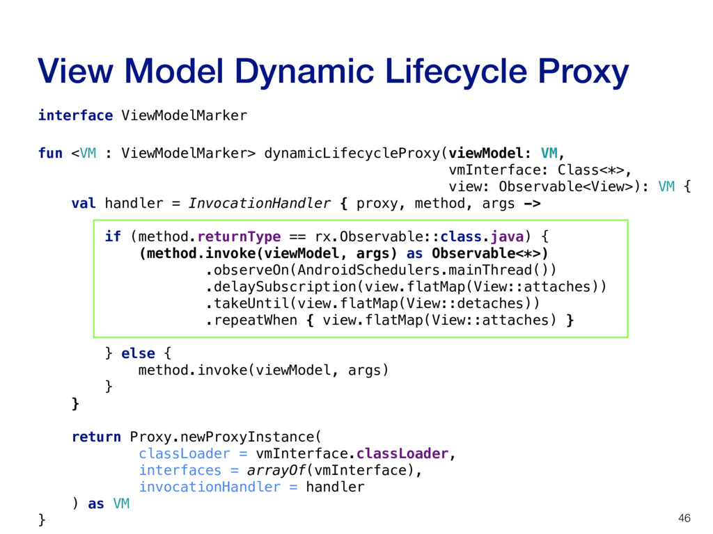 View Model Dynamic Lifecycle Proxy 46 interface...