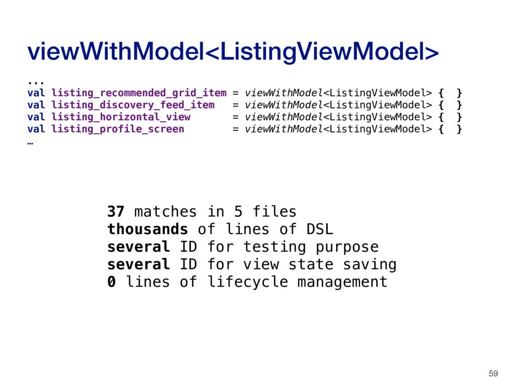 viewWithModel<ListingViewModel> 59 ... val list...