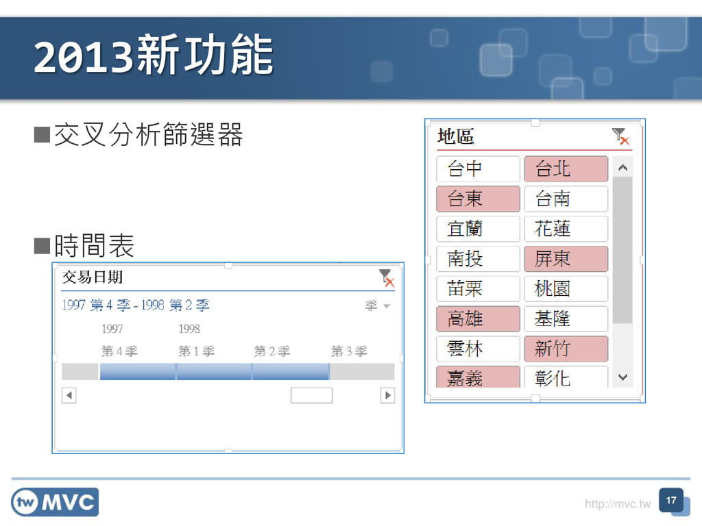 http://mvc.tw 交叉分析篩選器 時間表 2013新功能 17