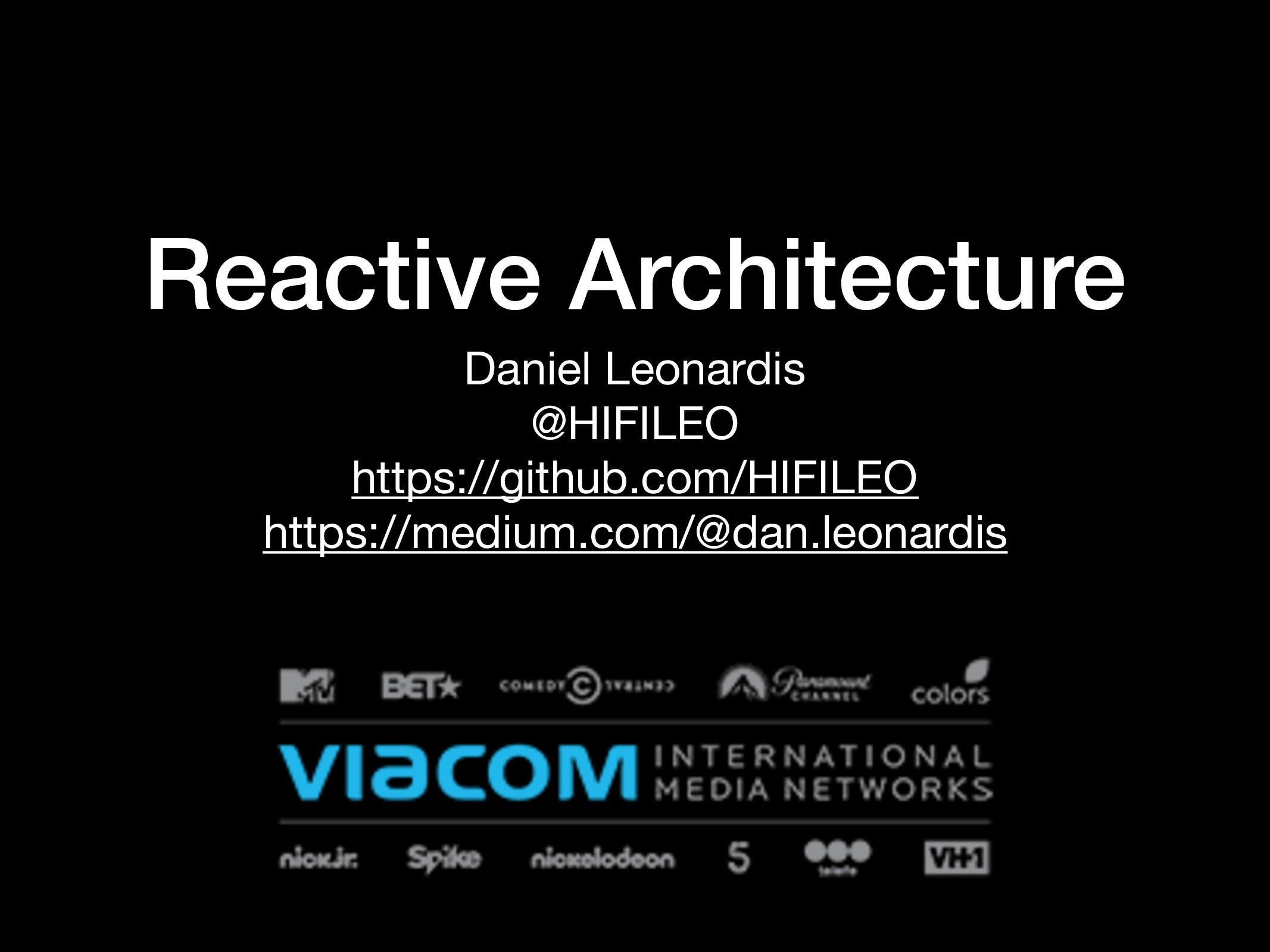 Reactive Architecture Daniel Leonardis  @HIFILE...