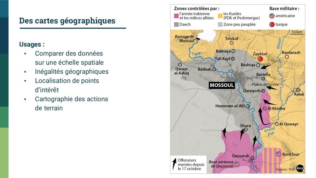Des cartes géographiques Usages : ▪ Comparer de...