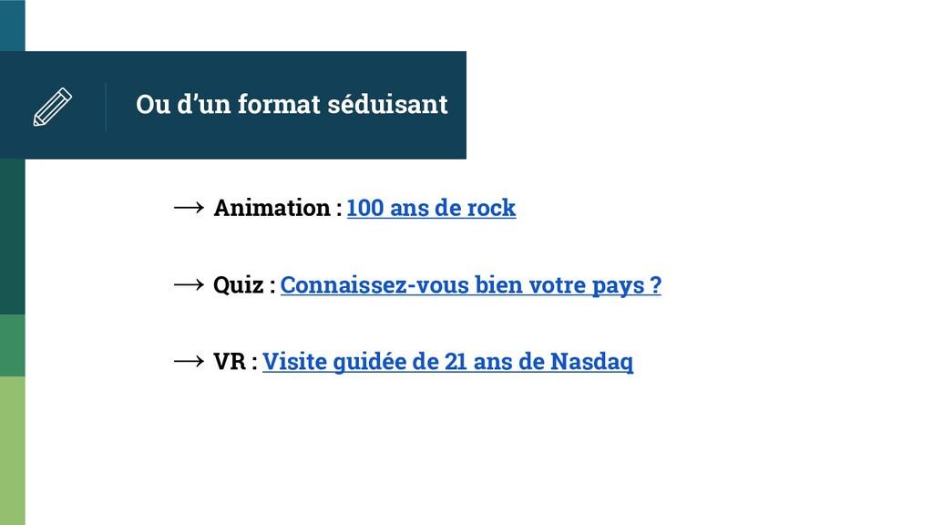 Ou d'un format séduisant → Animation : 100 ans ...