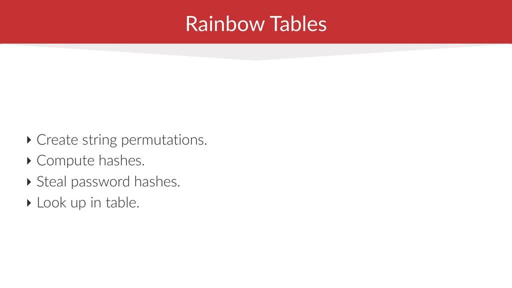 Rainbow Tables ‣ Create string permutations. ‣ ...