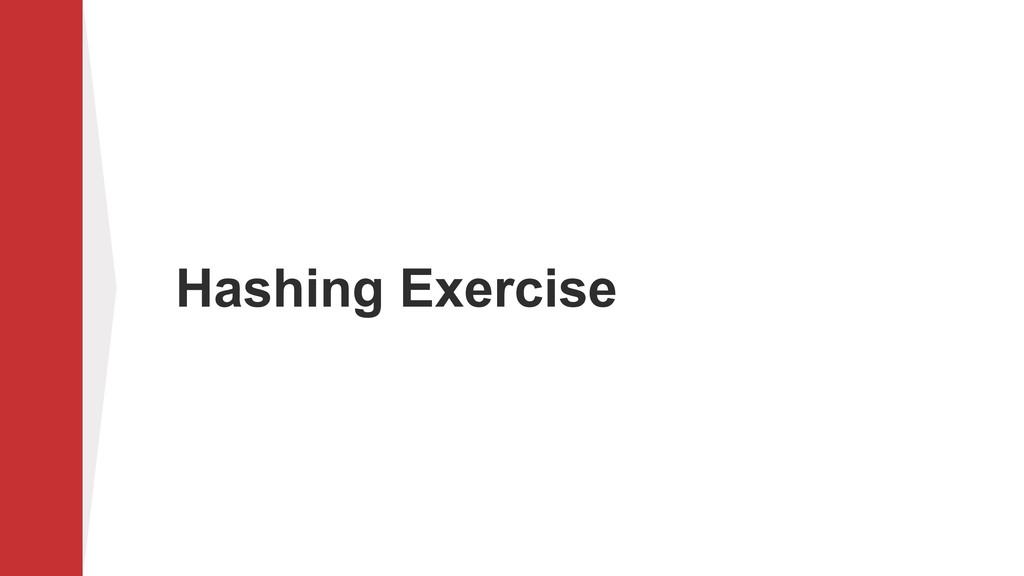 Hashing Exercise