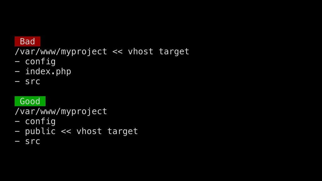 Bad /var/www/myproject << vhost target - config...