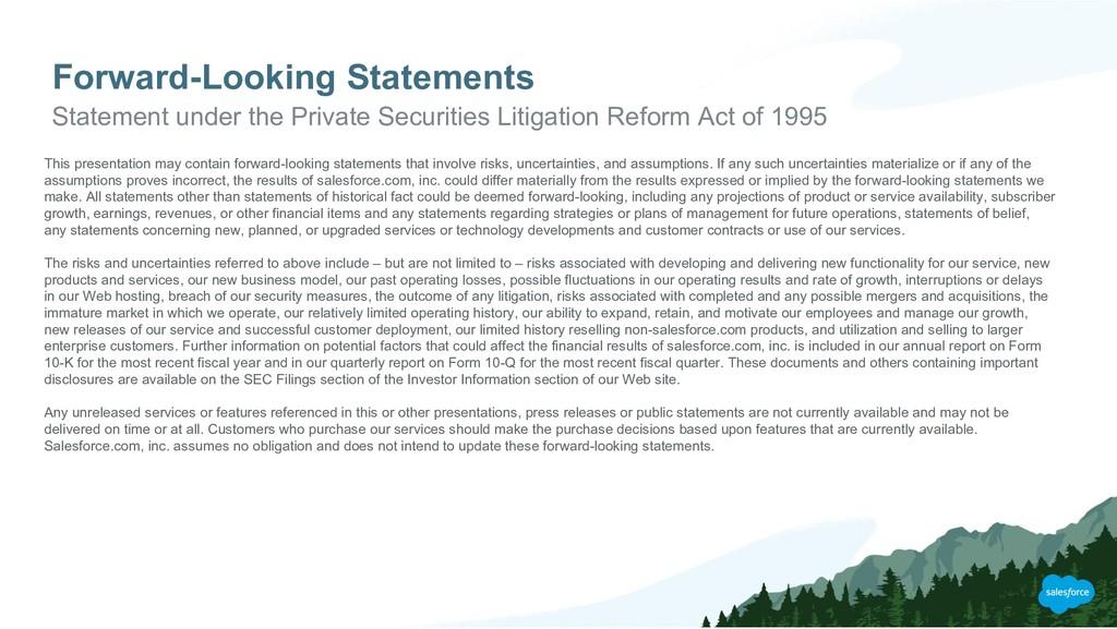 Forward-Looking Statements Statement under the ...