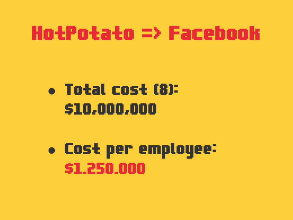 HotPotato => Facebook • Total cost (8): $10,000...
