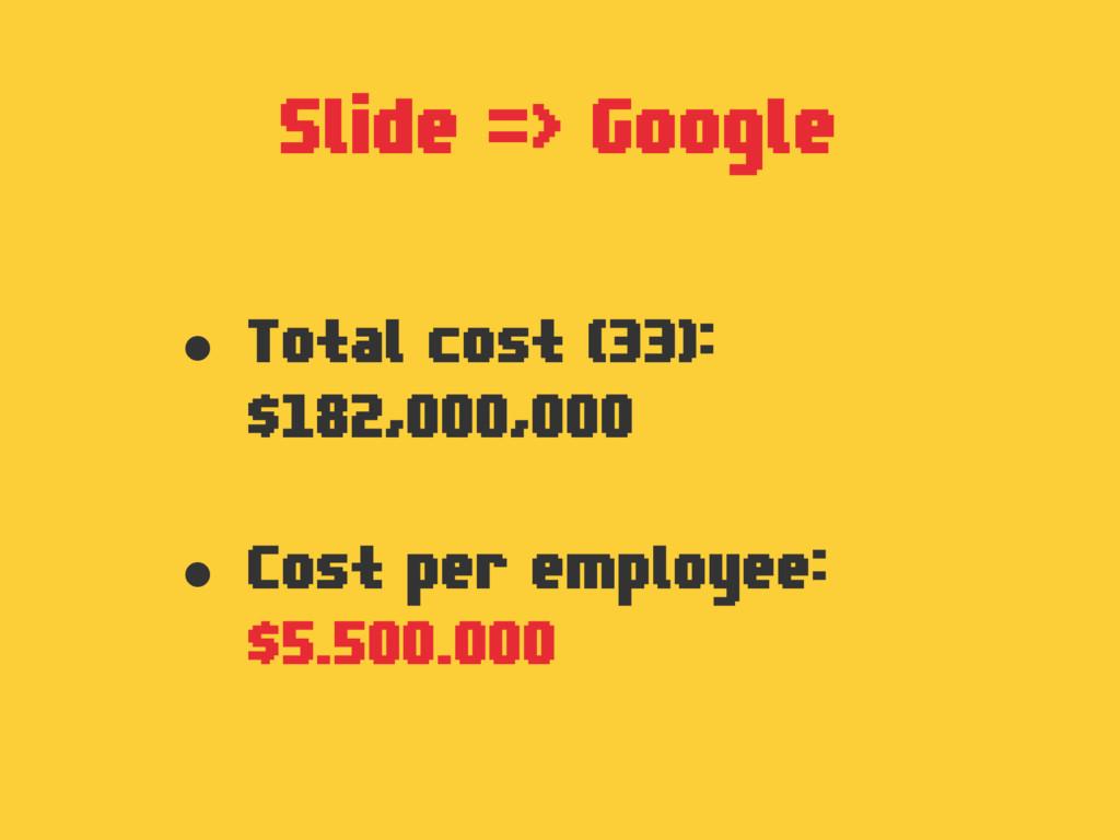 Slide => Google • Total cost (33): $182,000,000...