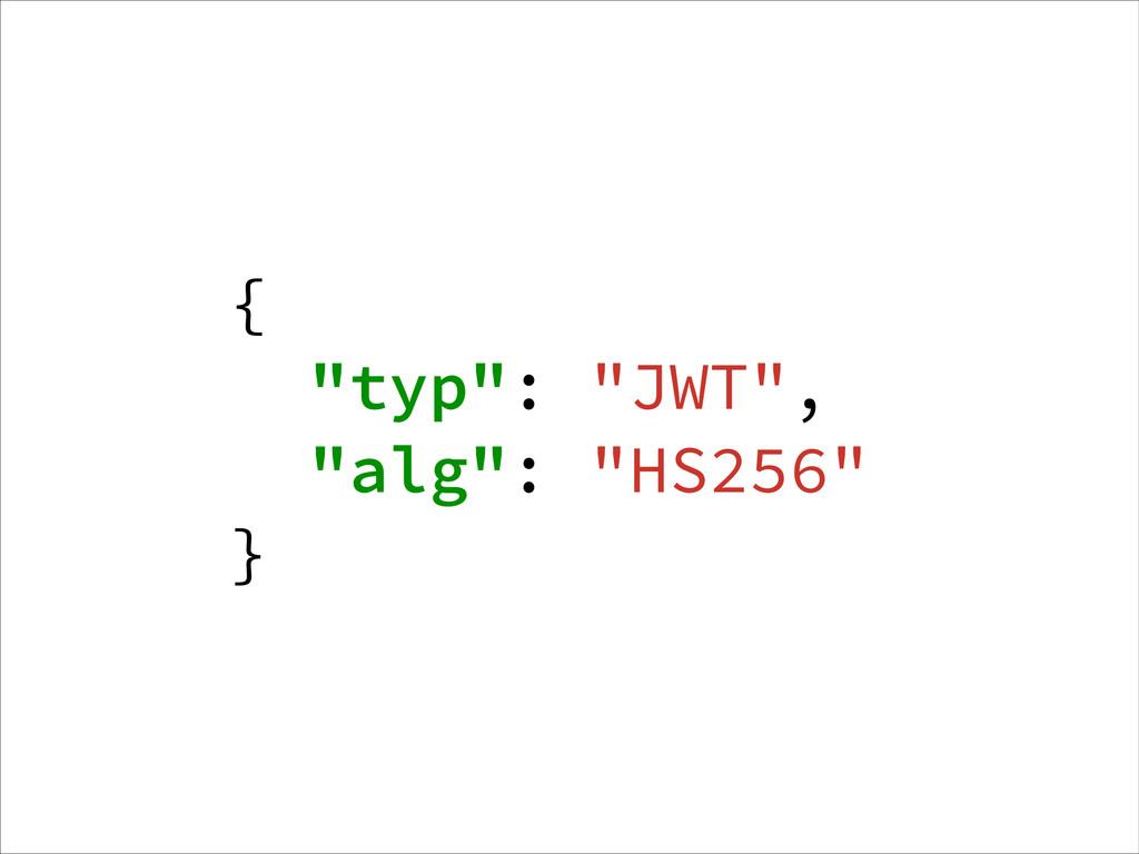 """{ """"typ"""": """"JWT"""", """"alg"""": """"HS256"""" }"""