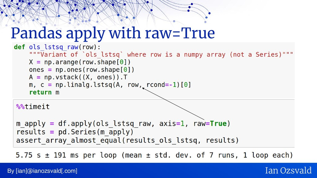 Pandas apply with raw=True By [ian]@ianozsvald[...
