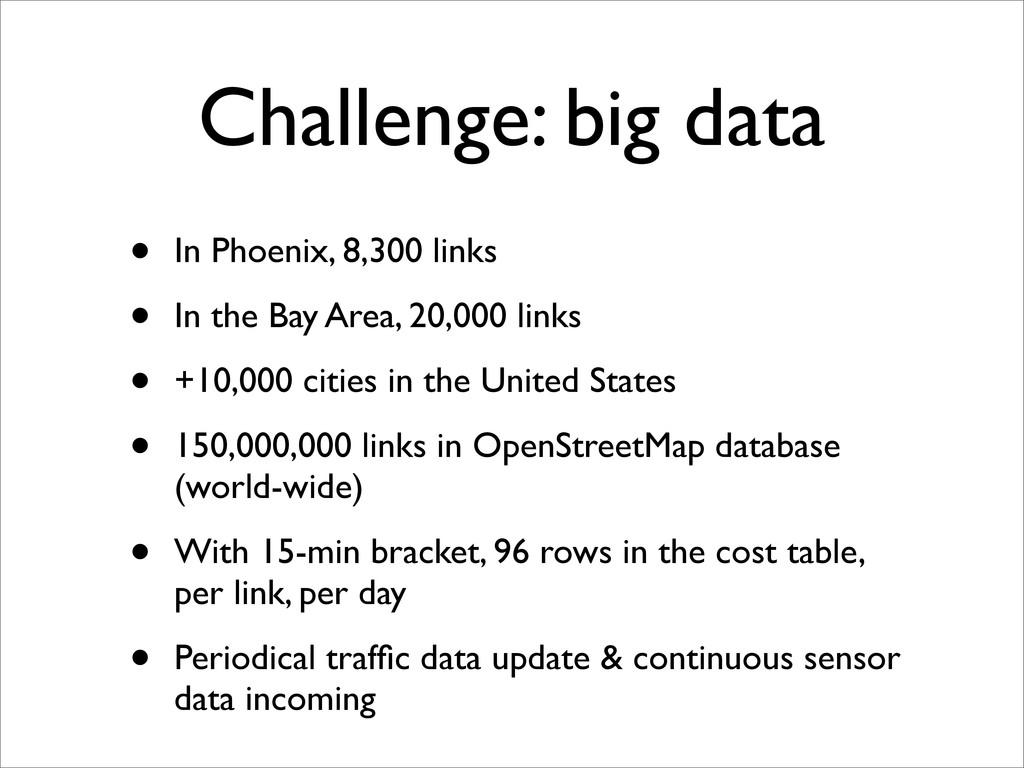 Challenge: big data • In Phoenix, 8,300 links •...
