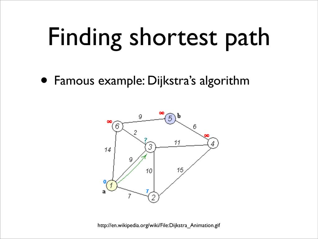 Finding shortest path • Famous example: Dijkstr...