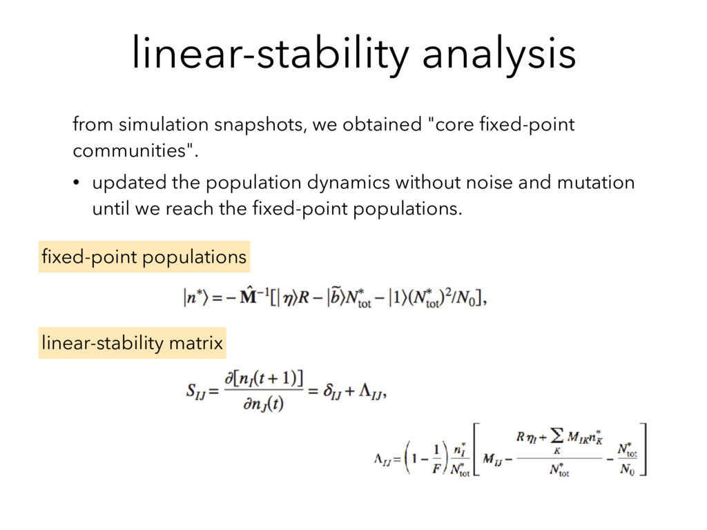 linear-stability analysis from simulation snaps...