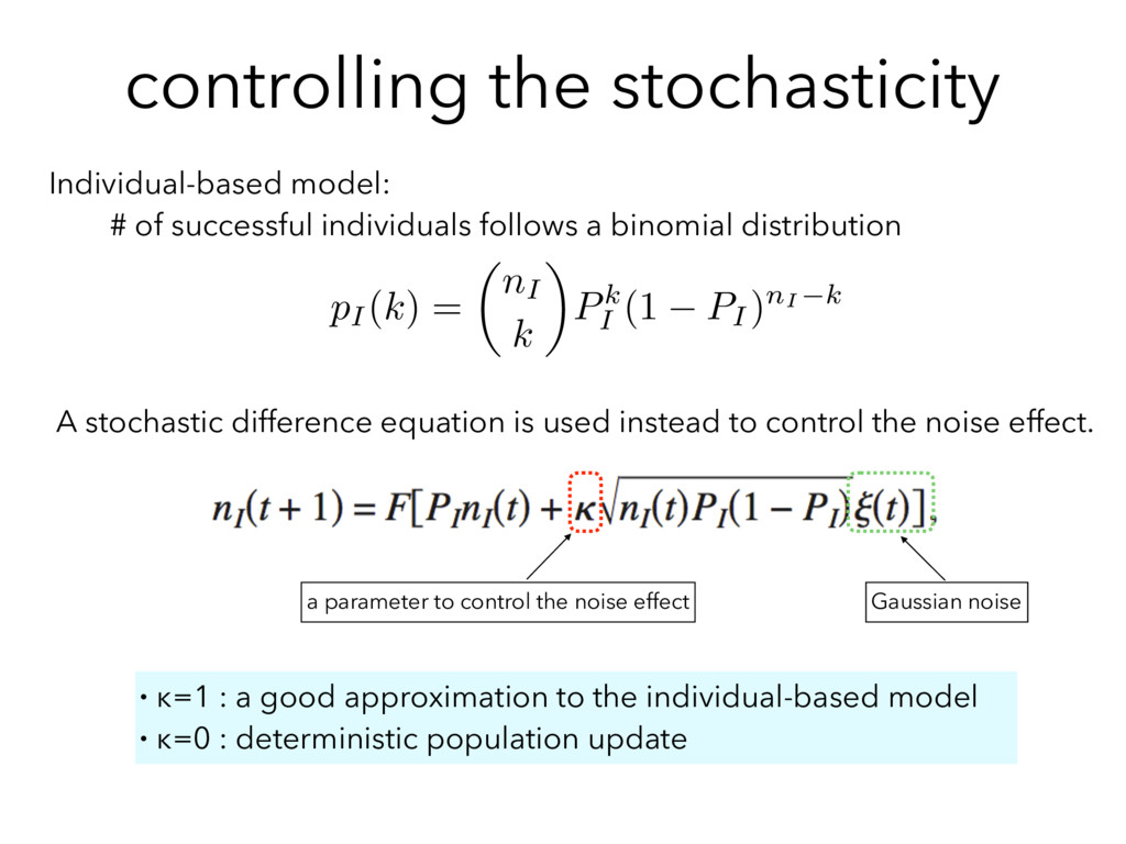 controlling the stochasticity Individual-based ...