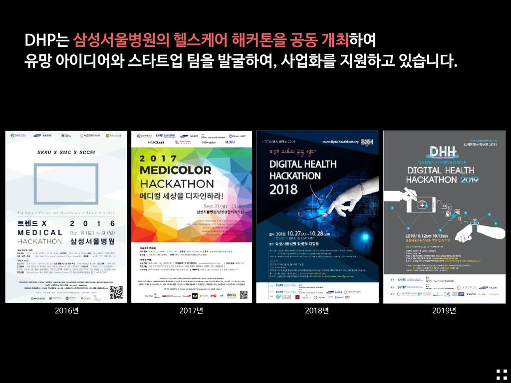 DHP는 삼성서울병원의 헬스케어 해커톤을 공동 개최하여  유망 아이디어와 스타트업 팀...