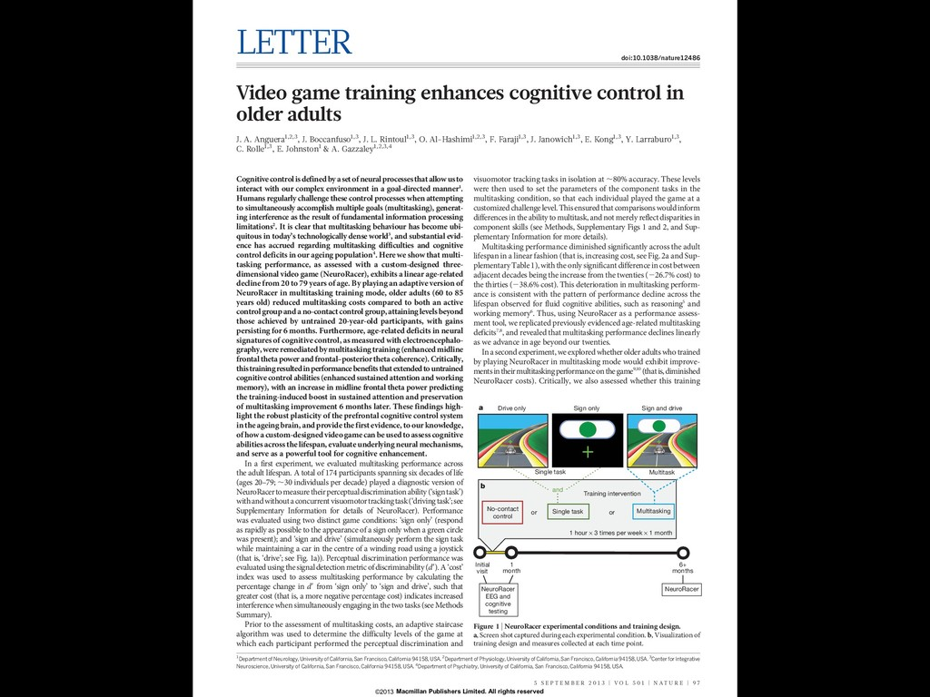 LETTER doi:10.1038/nature12486 Video game train...