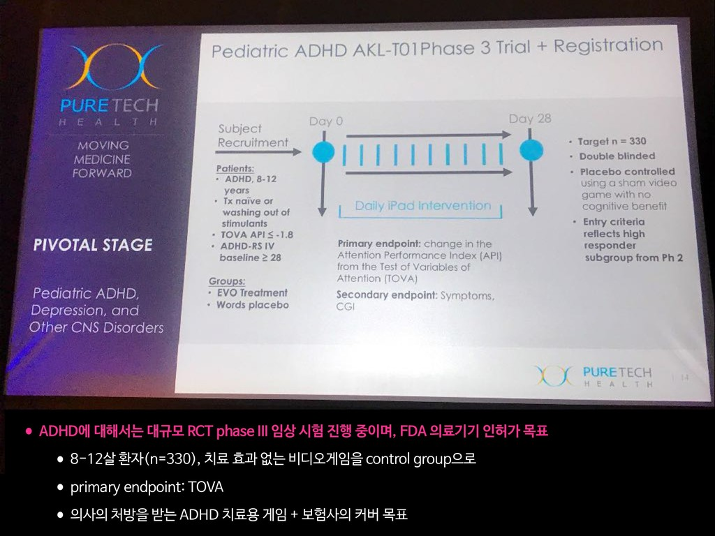 •ADHD에 대해서는 대규모 RCT phase III 임상 시험 진행 중이며, FDA...
