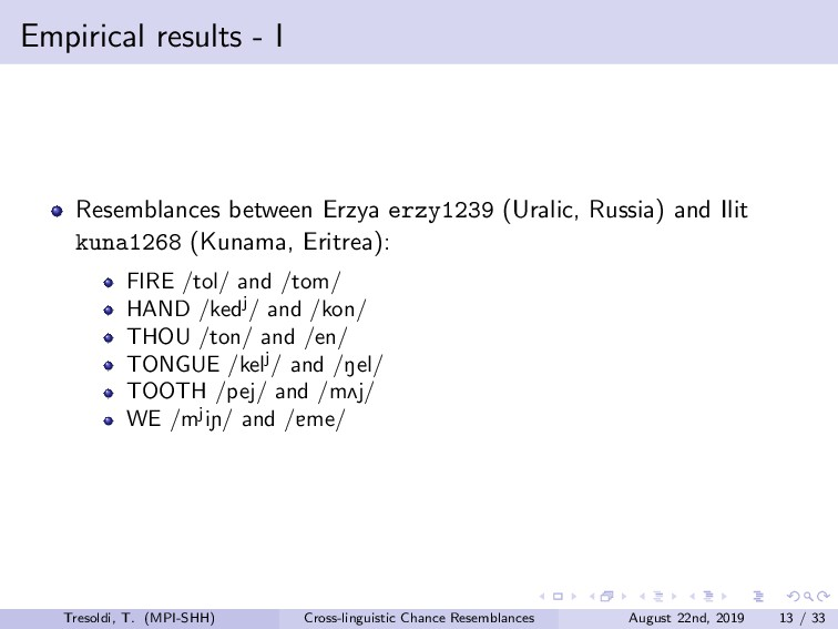 Empirical results - I Resemblances between Erzy...