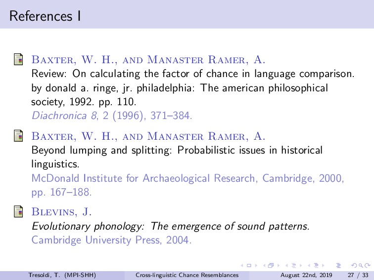 References I Baxter, W. H., and Manaster Ramer,...