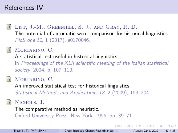 References IV List, J.-M., Greenhill, S. J., an...