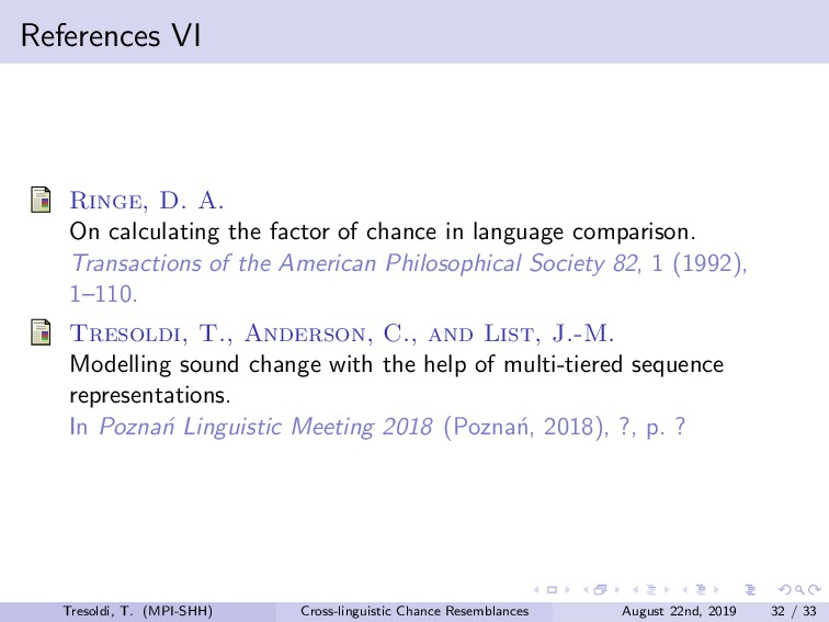 References VI Ringe, D. A. On calculating the f...