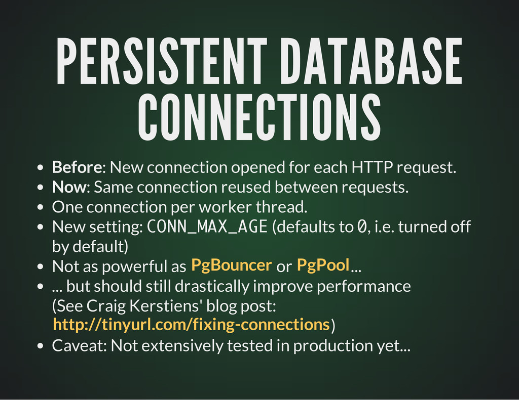 PERSISTENT DATABASE PERSISTENT DATABASE CONNECT...