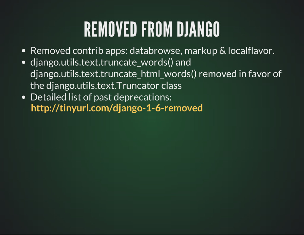 REMOVED FROM DJANGO REMOVED FROM DJANGO Removed...