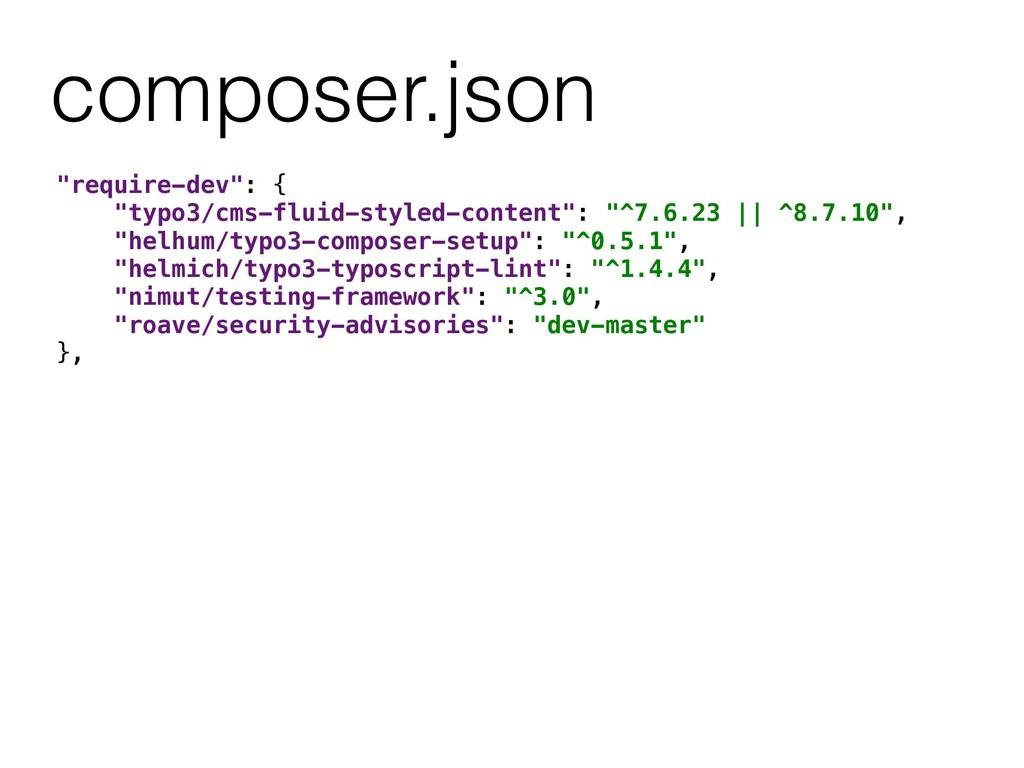 "composer.json ""require-dev"": { ""typo3/cms-fluid..."