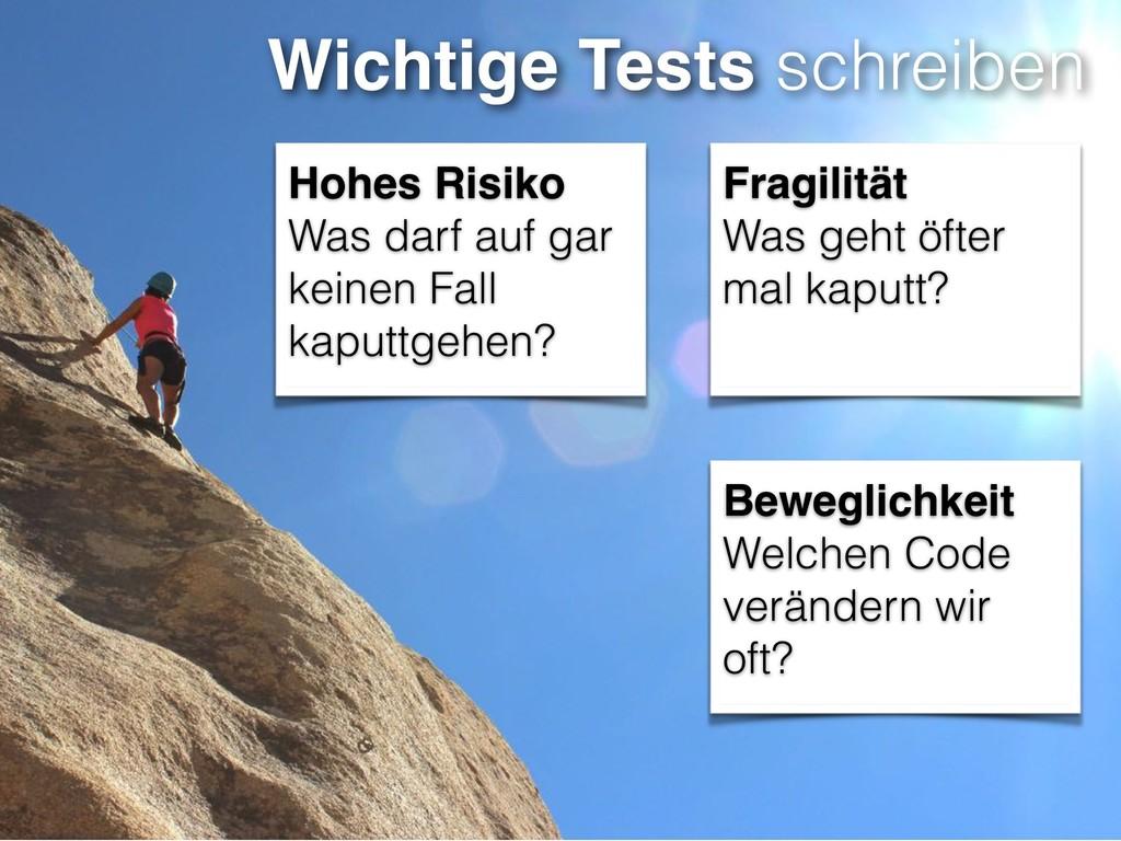 Wichtige Tests schreiben Hohes Risiko Was darf ...